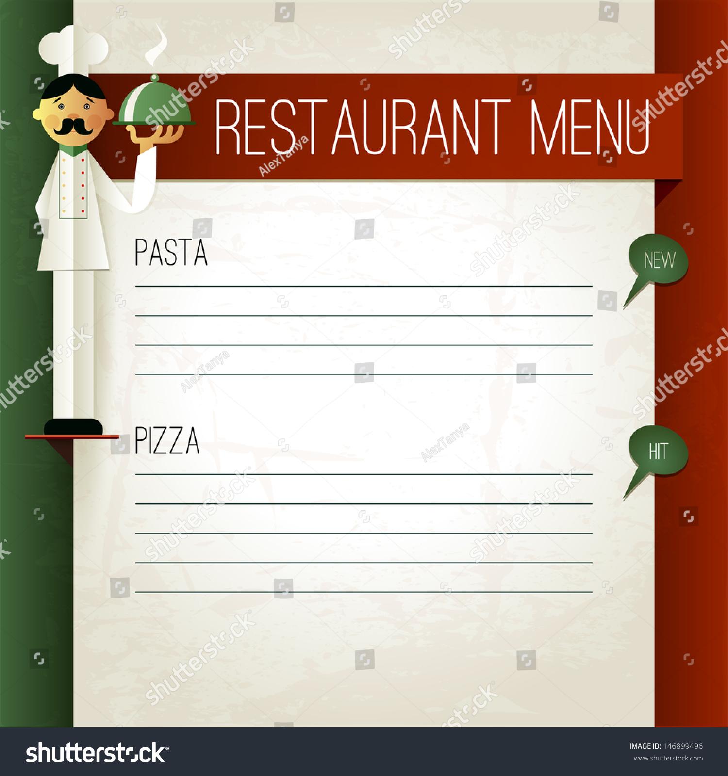 vector italian menu chef plate menu stock vector 146899496