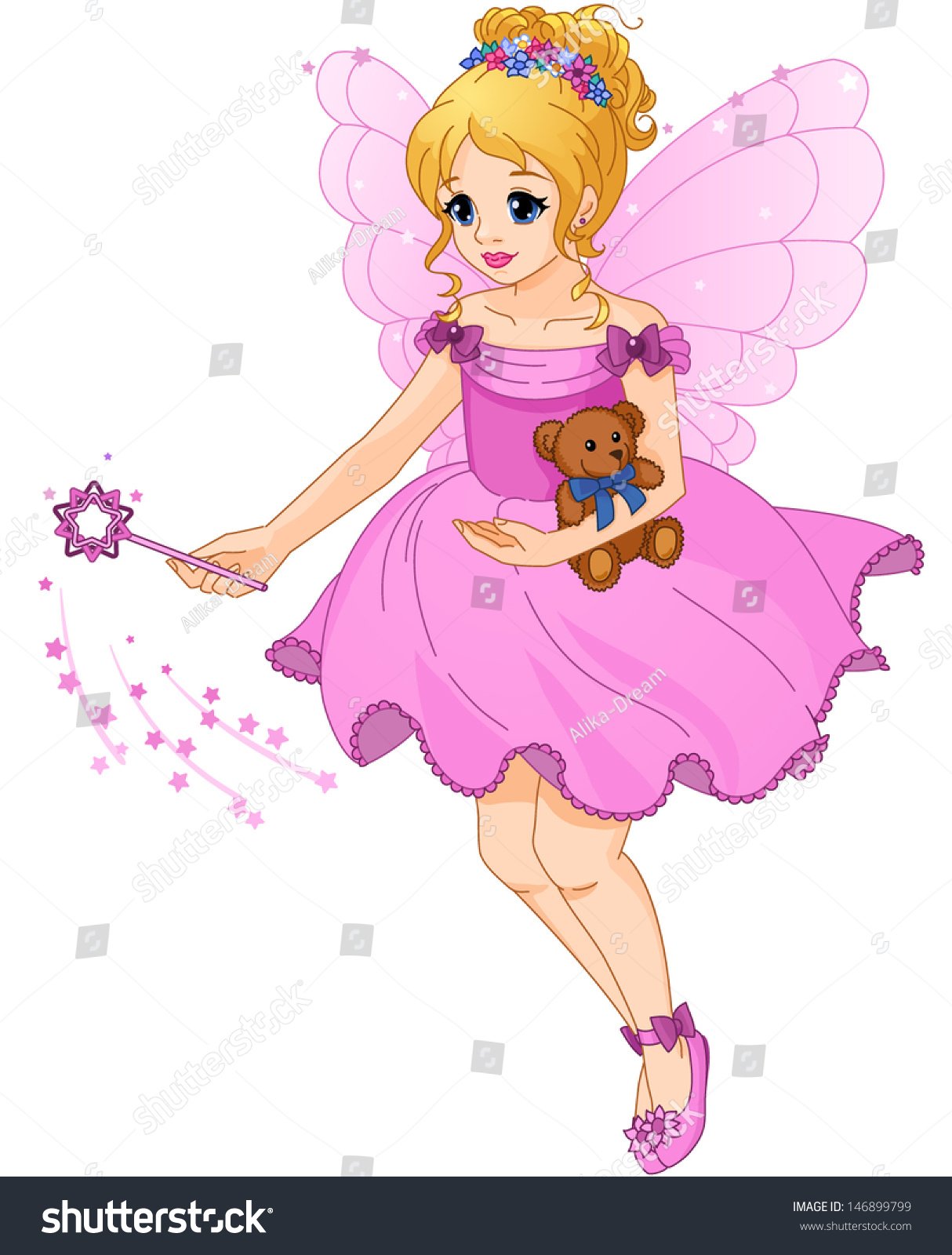 Illustration Cute Girl Purple Dress Fairy Stock Vector