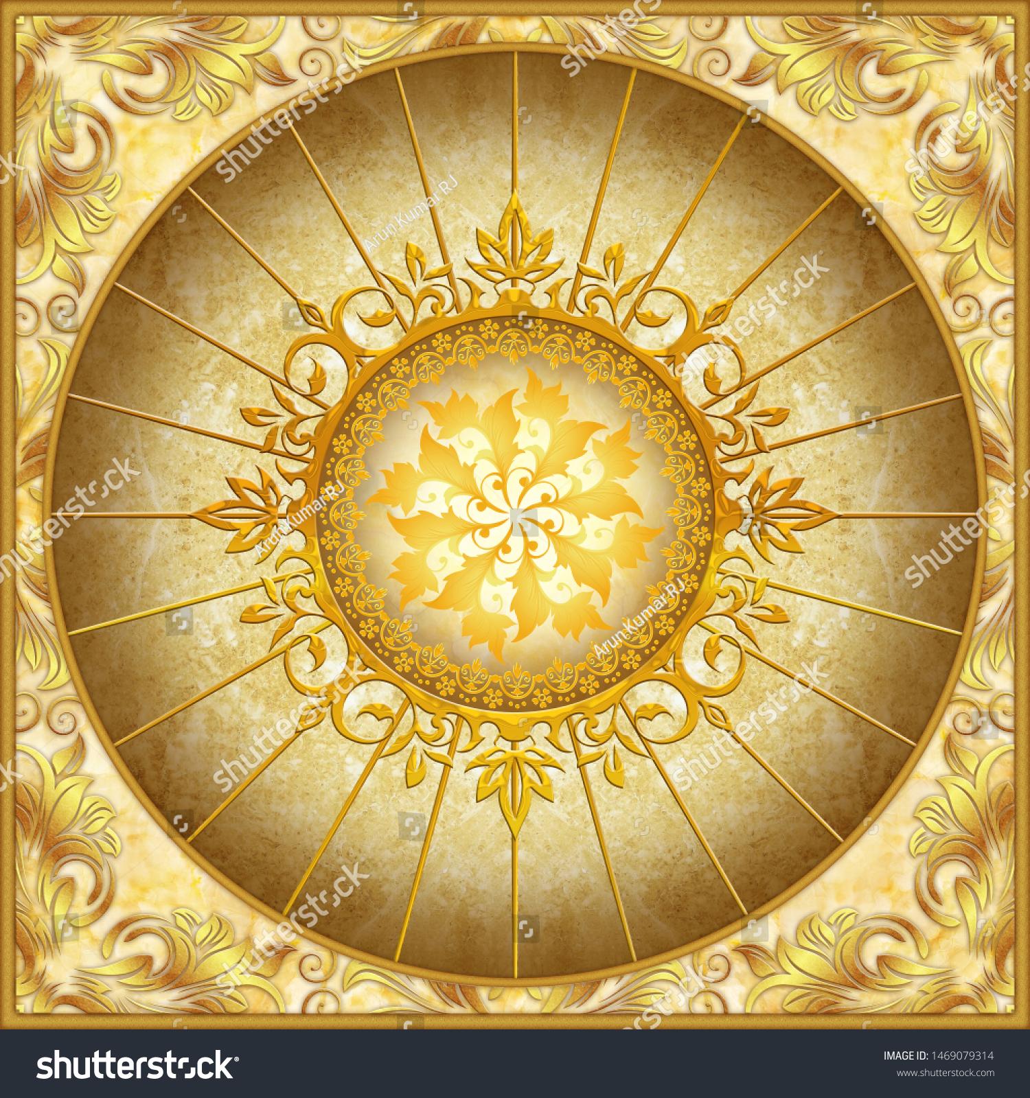 3d Wallpaper Circle Abstract Image Cieling Stock Illustration 1469079314