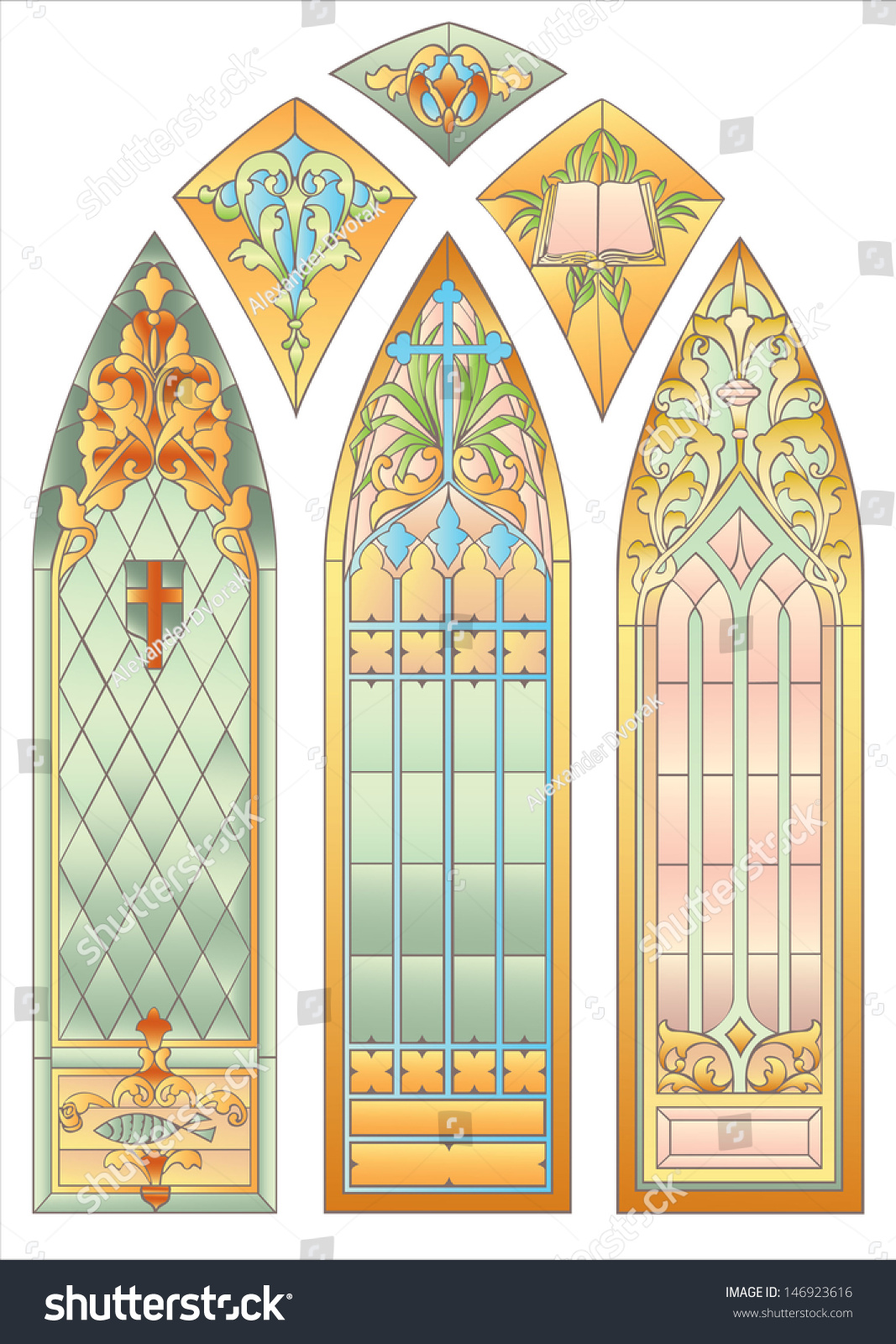 Six Mosaic Stained Glass Decoration Cathedral Stock Photo (Photo ...