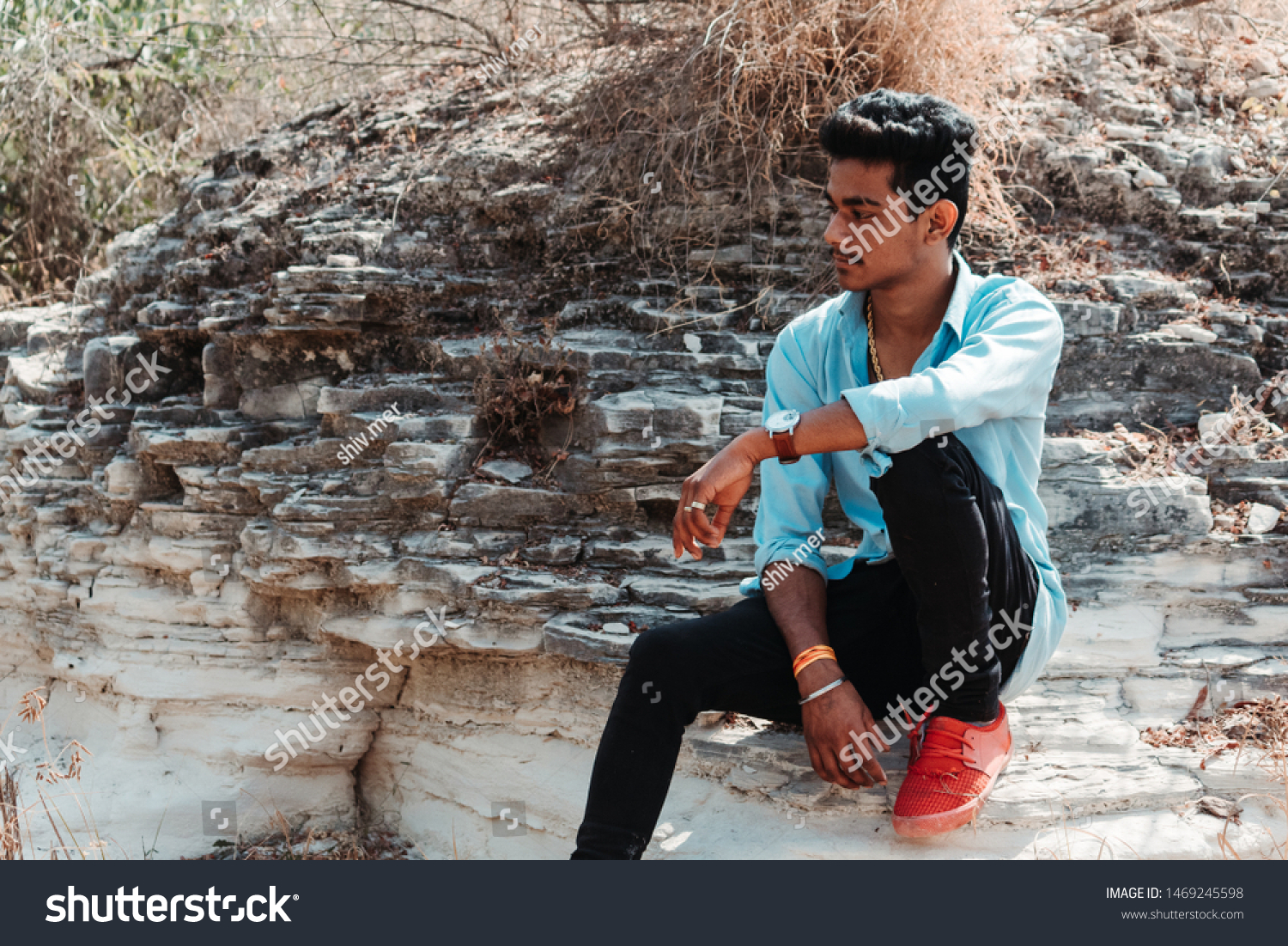 Indian Male Model Posing Photo While Stock Photo Edit Now 1469245598