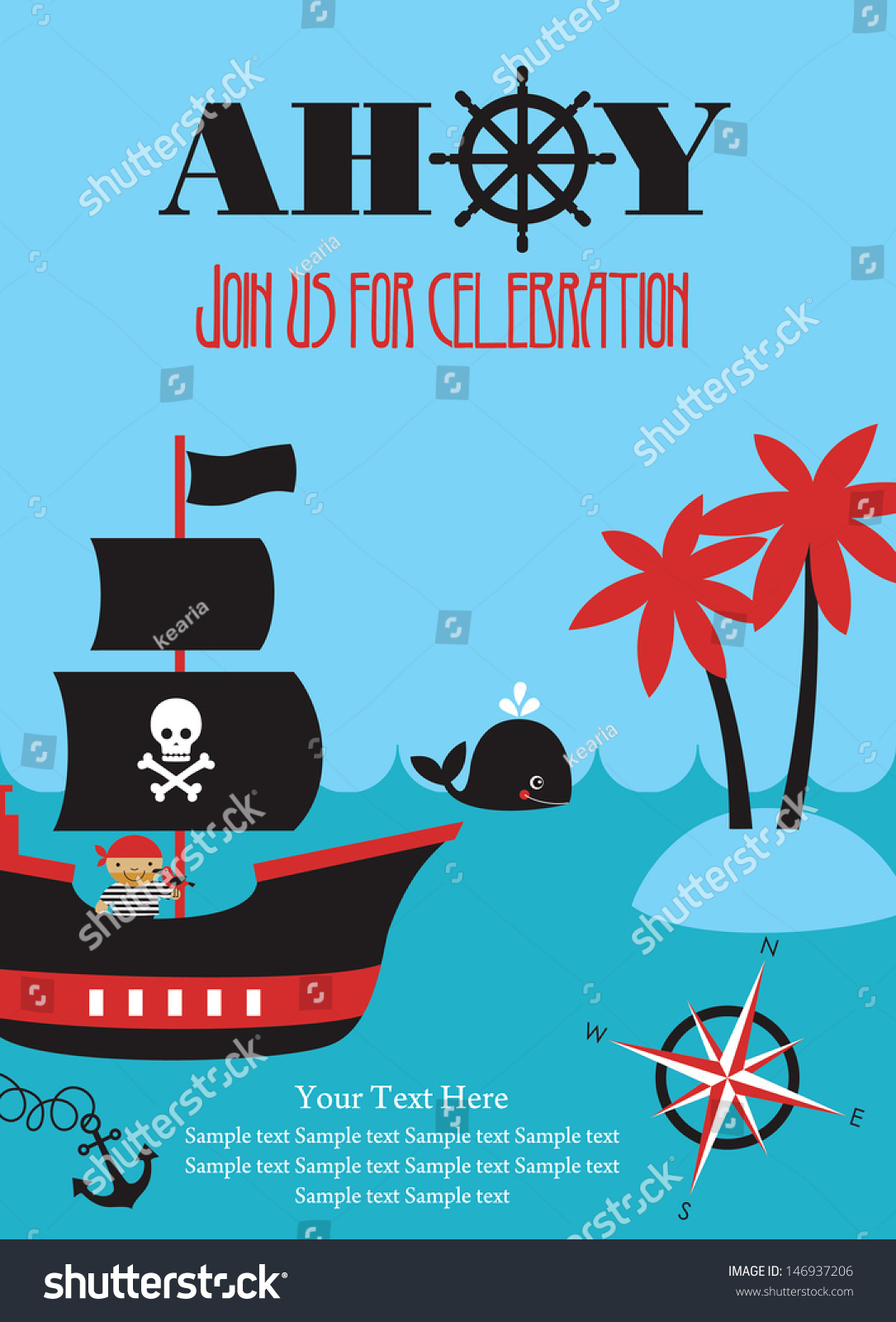 Pirate Party Invitation Card Design Vector Vector 146937206 – Pirate Party Invite