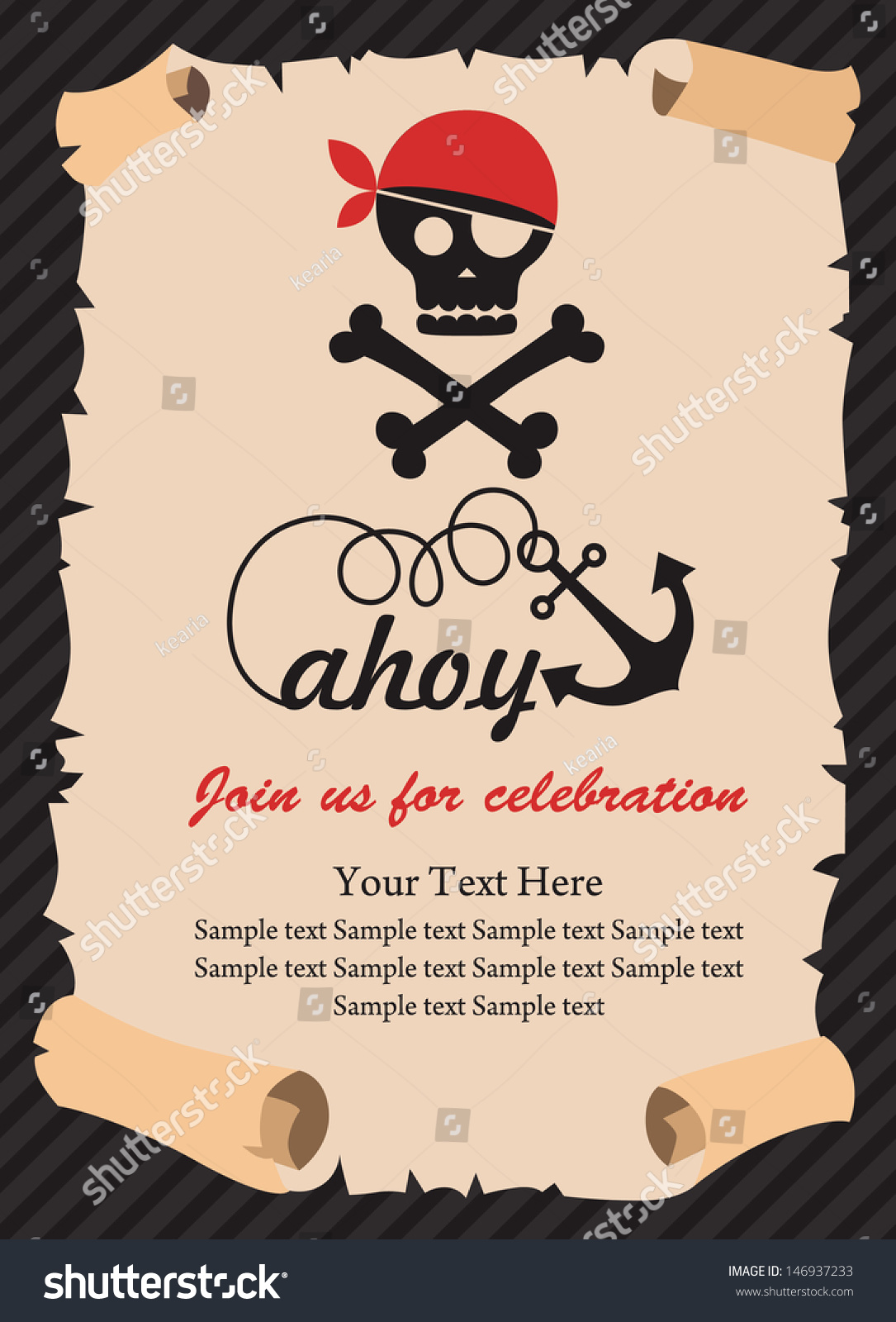 Pirate Party Invitation Card Design Vector Vector 146937233 – Party Invitation Card Design
