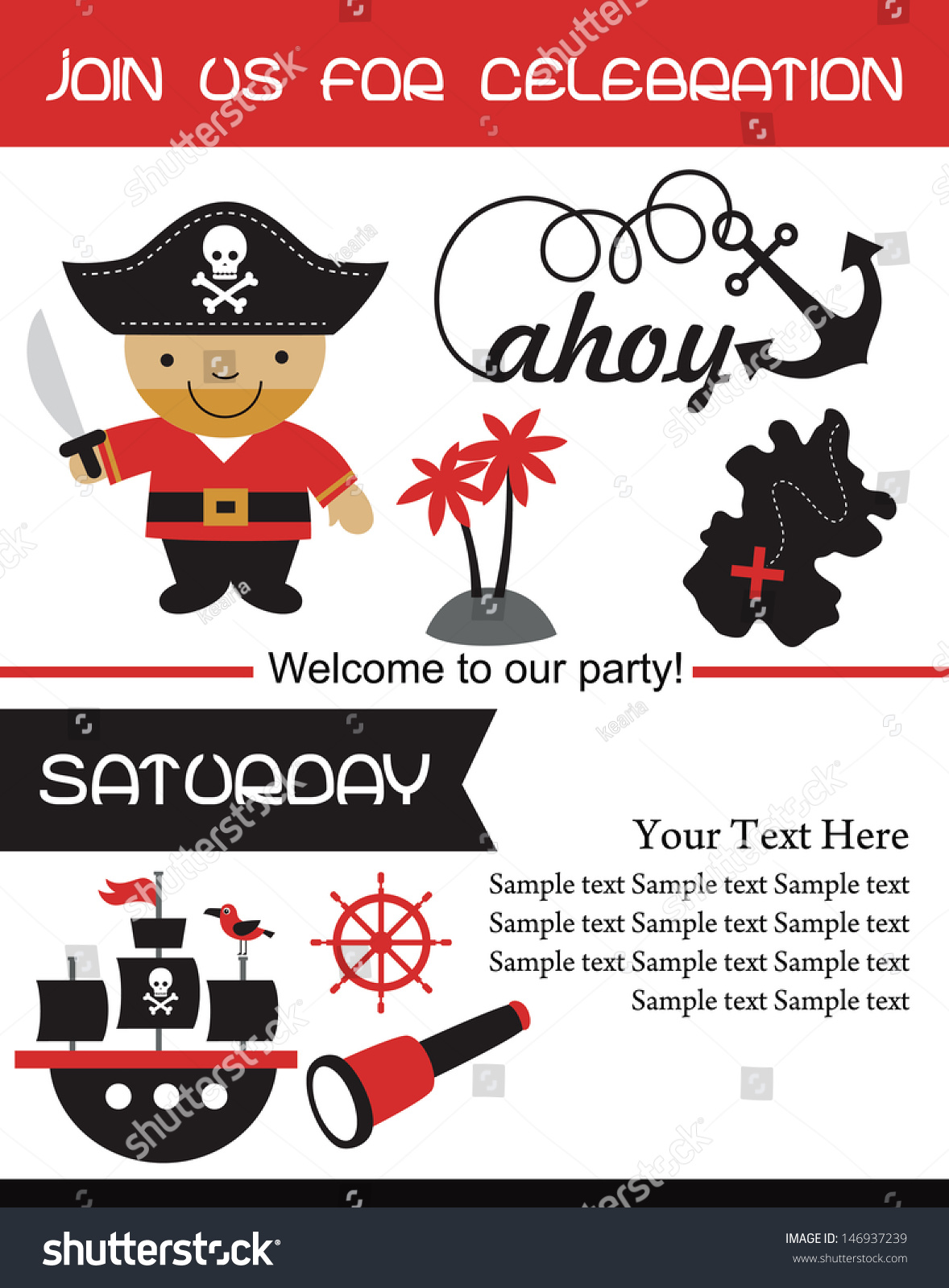 Pirate Party Invitation Card Design Vector Stock Vector 146937239 ...