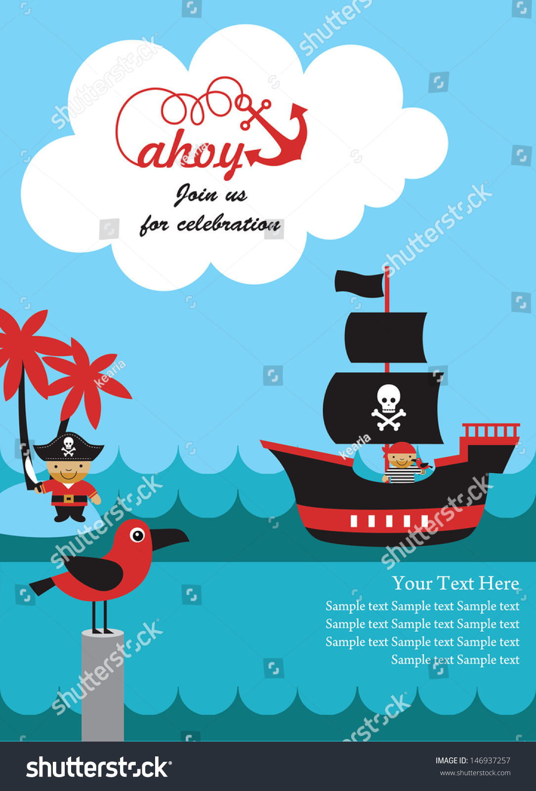 Pirate Party Invitation Card Design Vector Vector 146937257 – Party Invitation Card Design