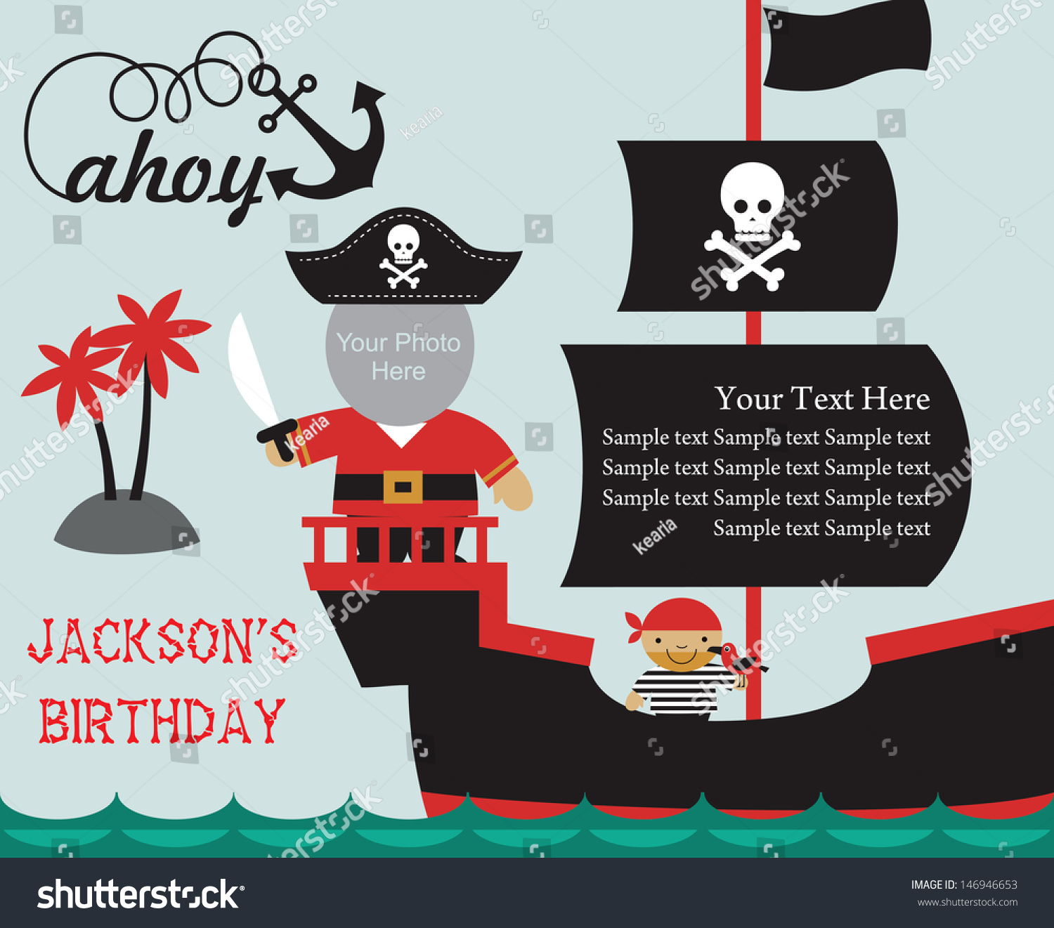 Pirate Party Invitation Card Place Photo Vector 146946653 – Pirate Party Invite