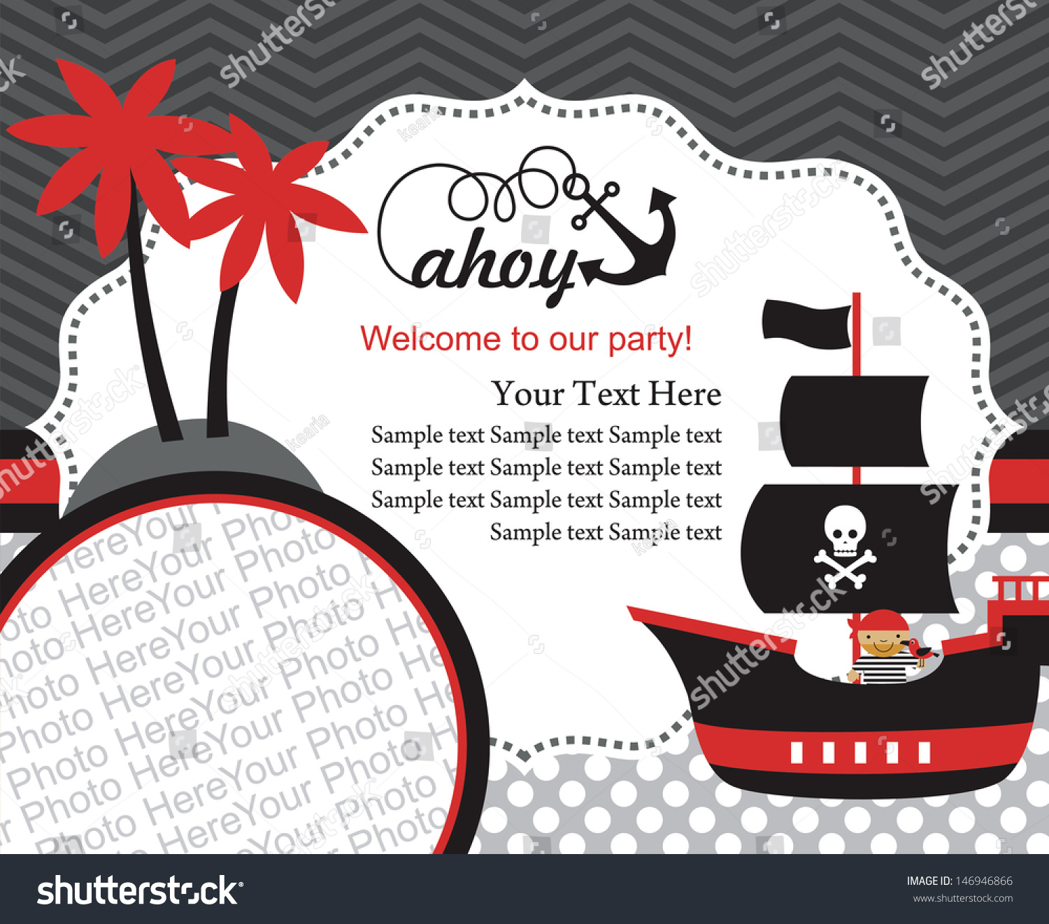 Pirate Party Invitation Card Design Place Stock Vector 146946866 ...