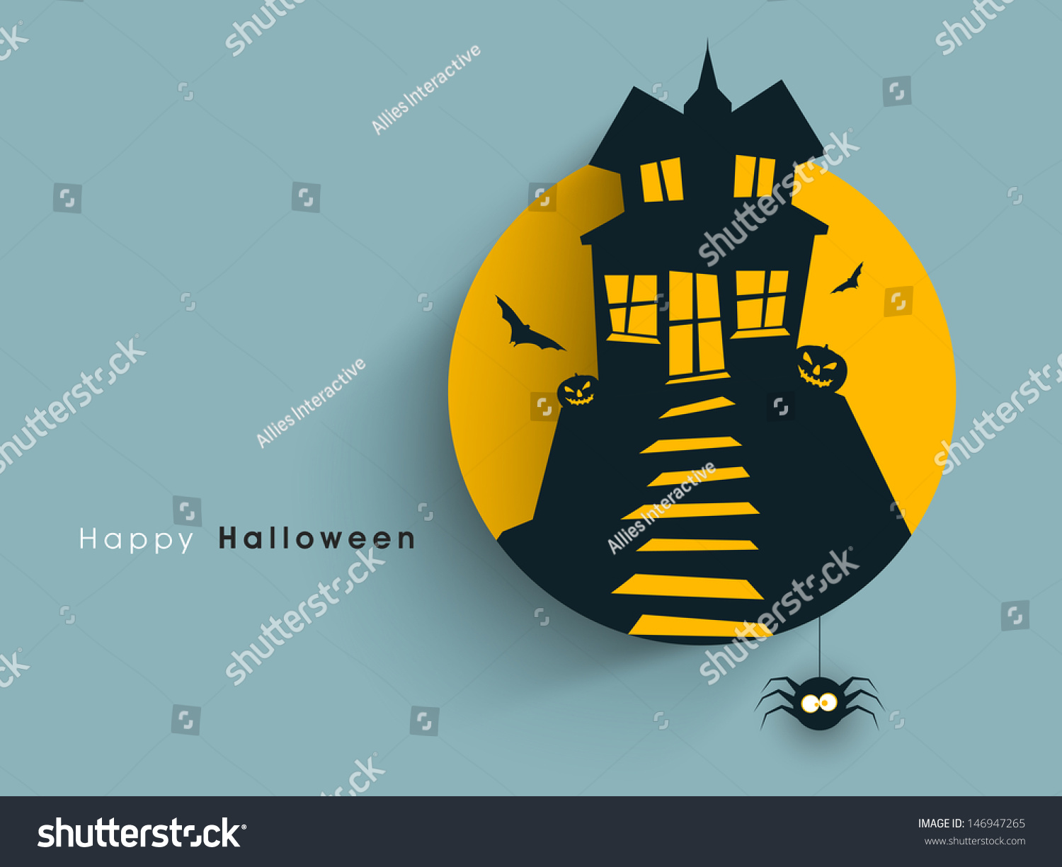 Tag, Label Or Sticker With Haunted House For Halloween Party ...