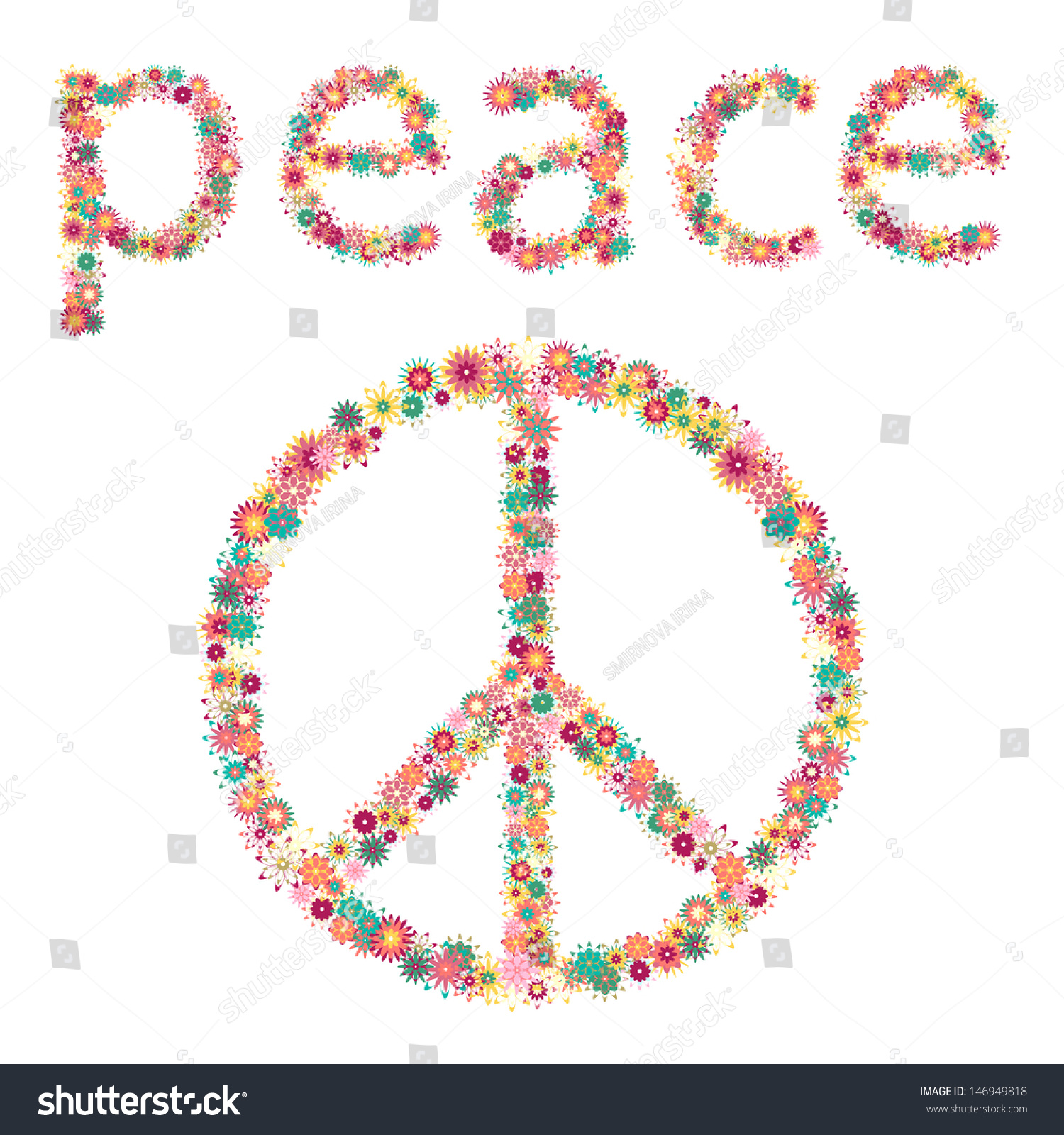 Sign peace pacifism symbol hippie culture stock vector 146949818 sign of peace and pacifism symbol of the hippie culture buycottarizona