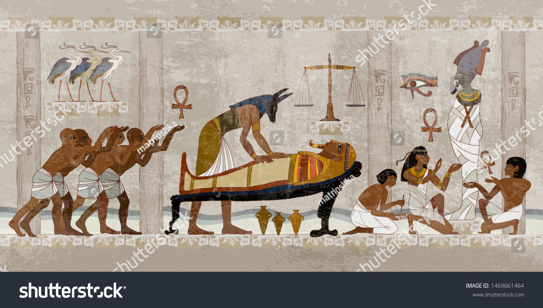 Ancient Egypt. Mummification process. Concept of a next world. Anubis and pharaoh sarcophagus. Egyptian gods, mythology. Hieroglyphic carvings. History wall painting, tomb King Tutankhamun