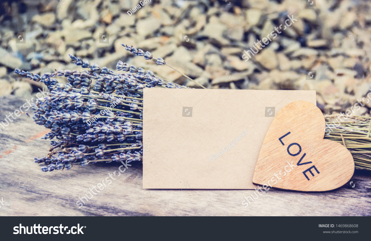 Lavender and heart. lavender flowers and love note. Romantic background. Mockup romantic letter #1469868608