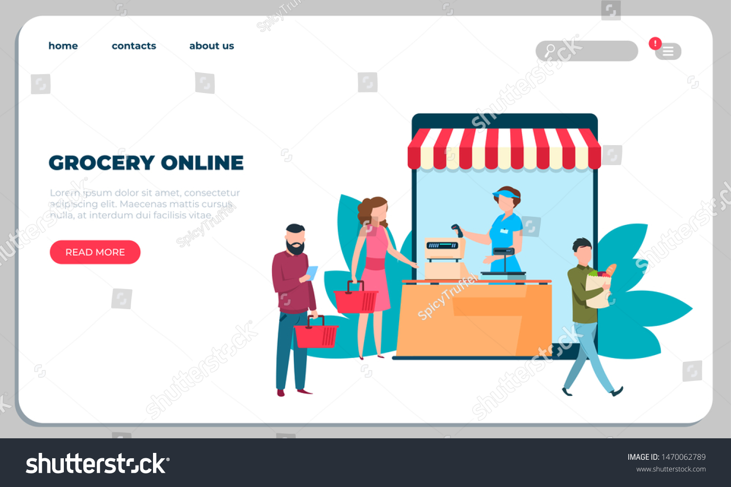 Online Grocery Food Delivery Landing Page Stock Vector Royalty Free 1470062789