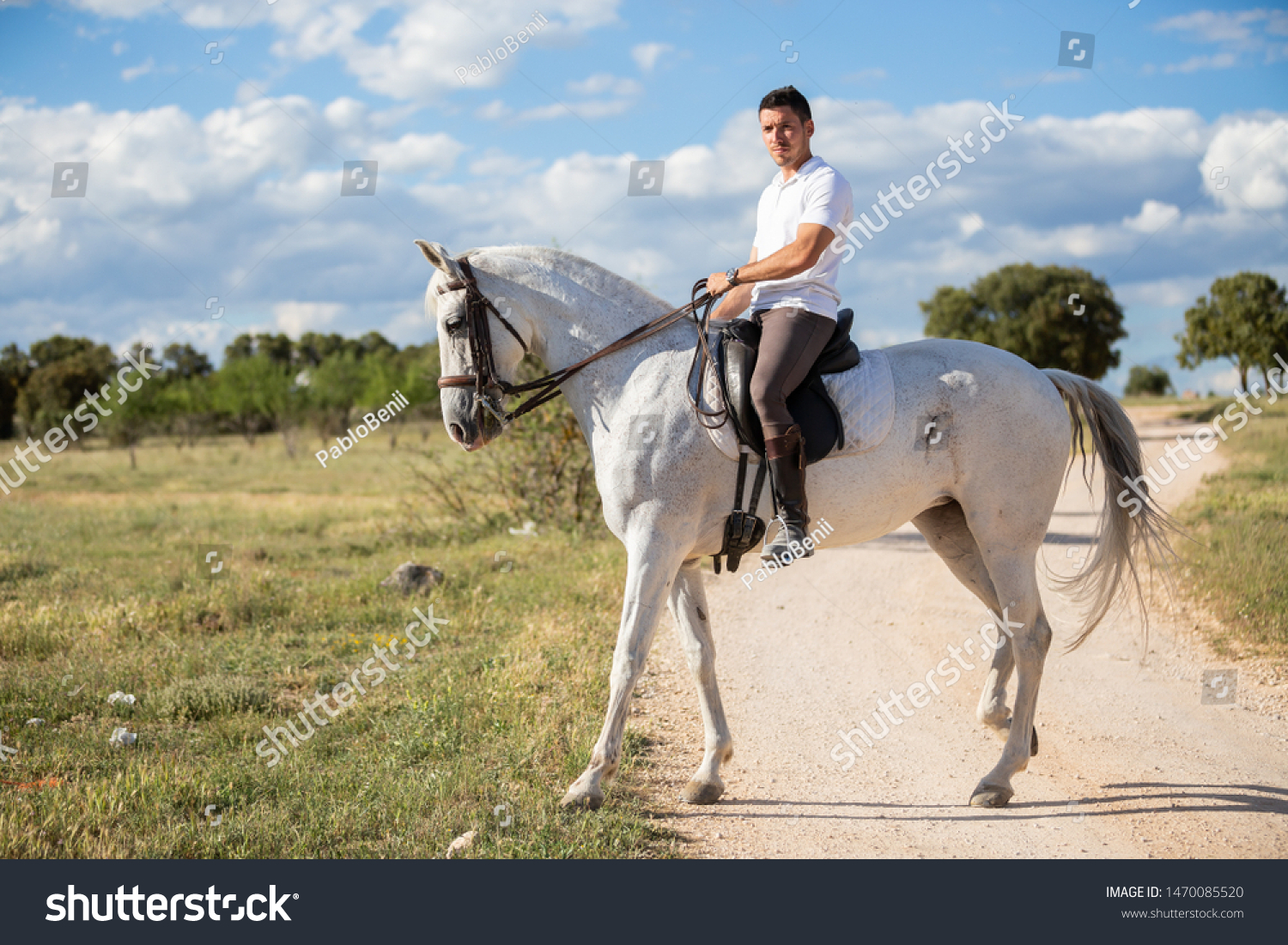 Young Male Casual Outfit Riding White Stock Photo Edit Now 1470085520