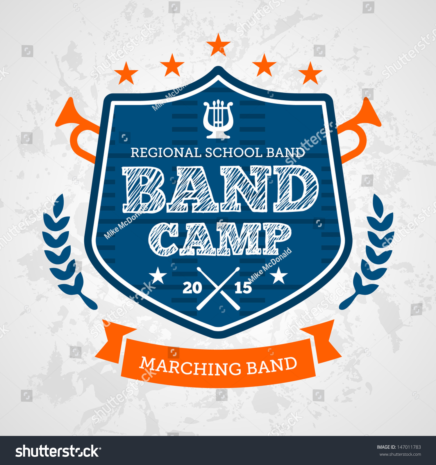 Band Camp Marching Drum Corp Emblem Stock Vector 147011783 ...