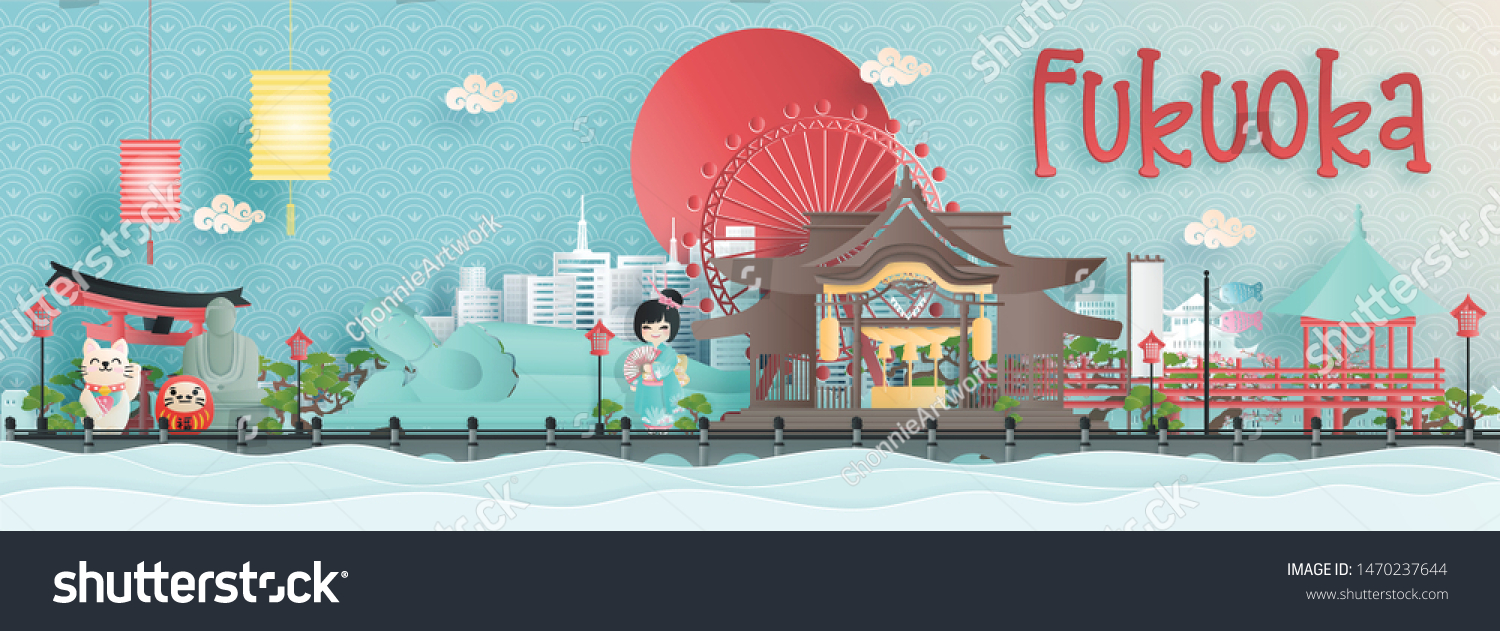 Panorama view of Fukuoka city skyline with world famous landmarks of Japan in paper cut style vector illustration.