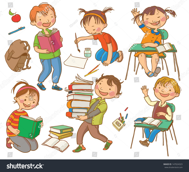 Cute School Children School Activities Back Stock Vector 147024323 ...