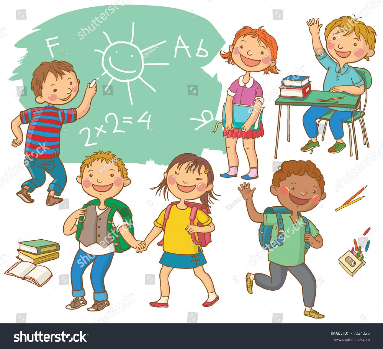 Cute School Children School Activities Back Stock Vector 147024326 ...