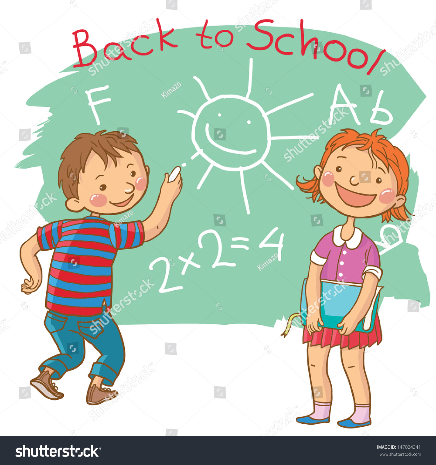 cute girl boy writing chalkboard school stock vector (royalty free