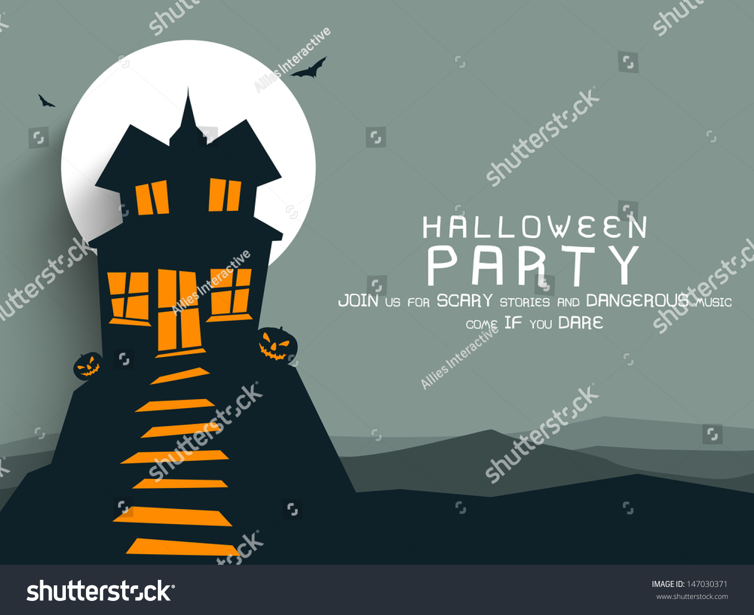 Poster Banner Background Halloween Party Night Stock Vector ...
