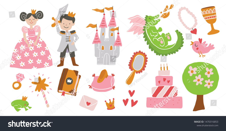 Vector Set Fairy Tale Story Elements Stock Vector (Royalty