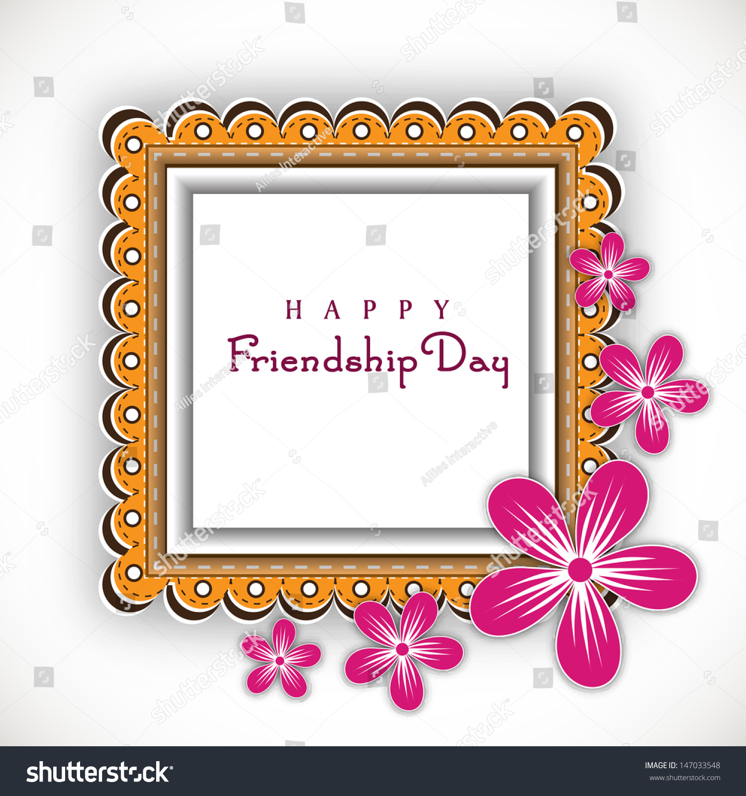 abstract photo frame with text happy friendship day on floral background
