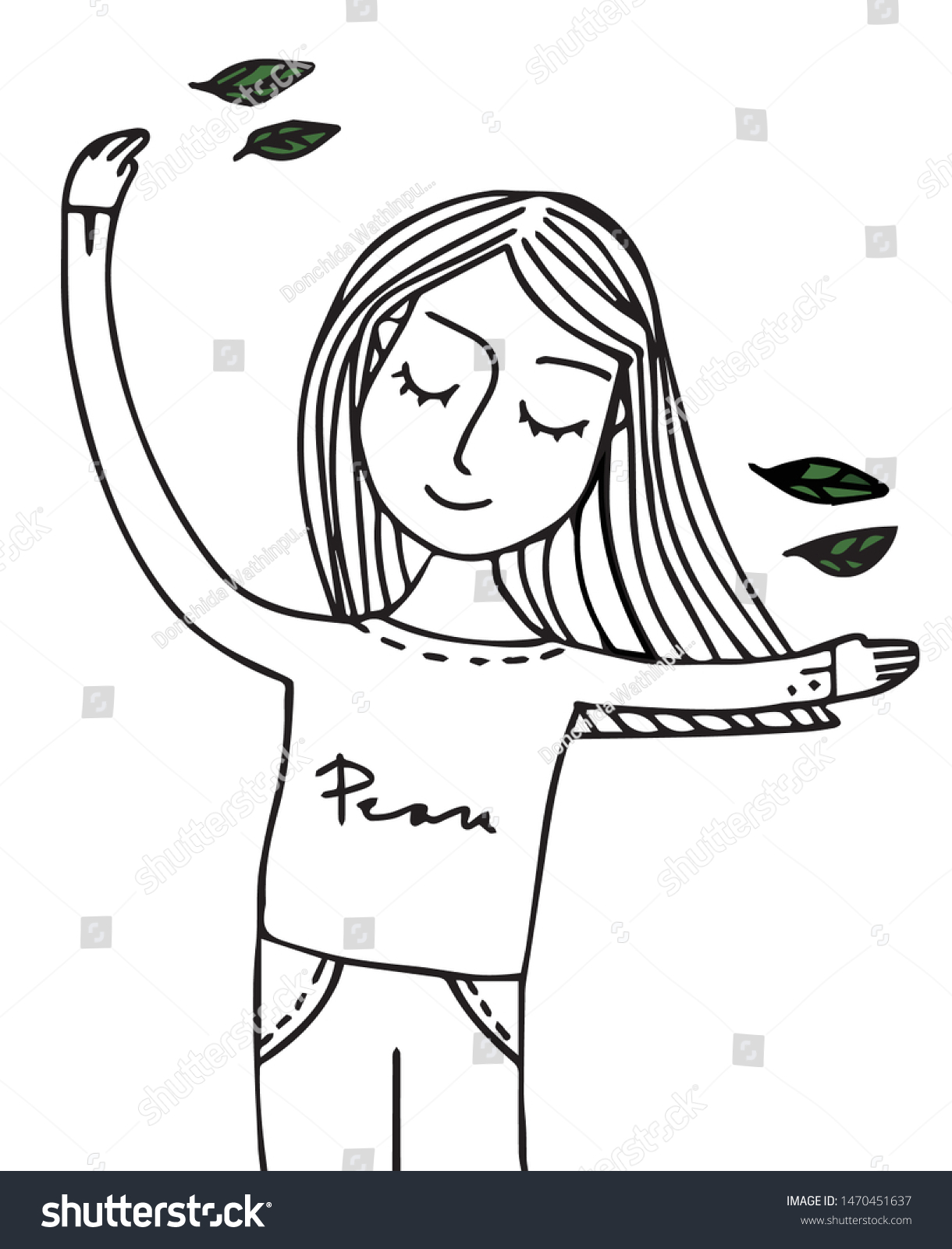 Doodle hand drawn vector illustrated in wellness, happiness and peace concept. The black and white vector shows a girl or woman standing in clam yoga or exercise pose with smiling face with leaves.