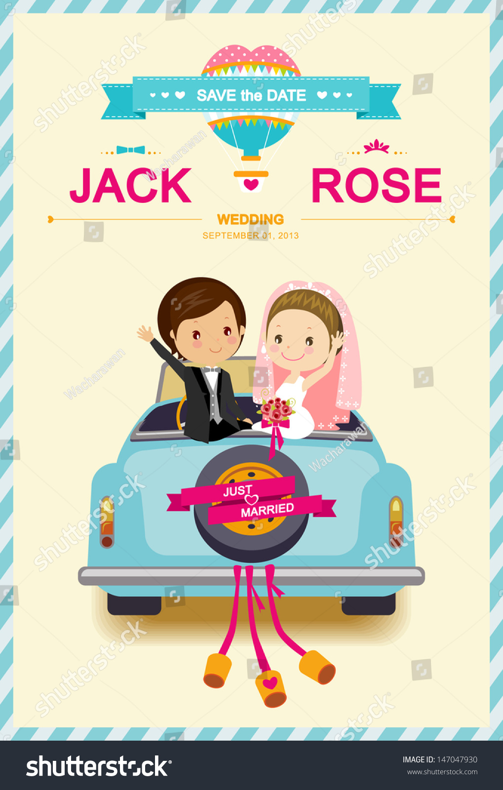 Cars Invitation Card Template Free: Cute Bride Groom Wedding Car Wedding Stock Vector