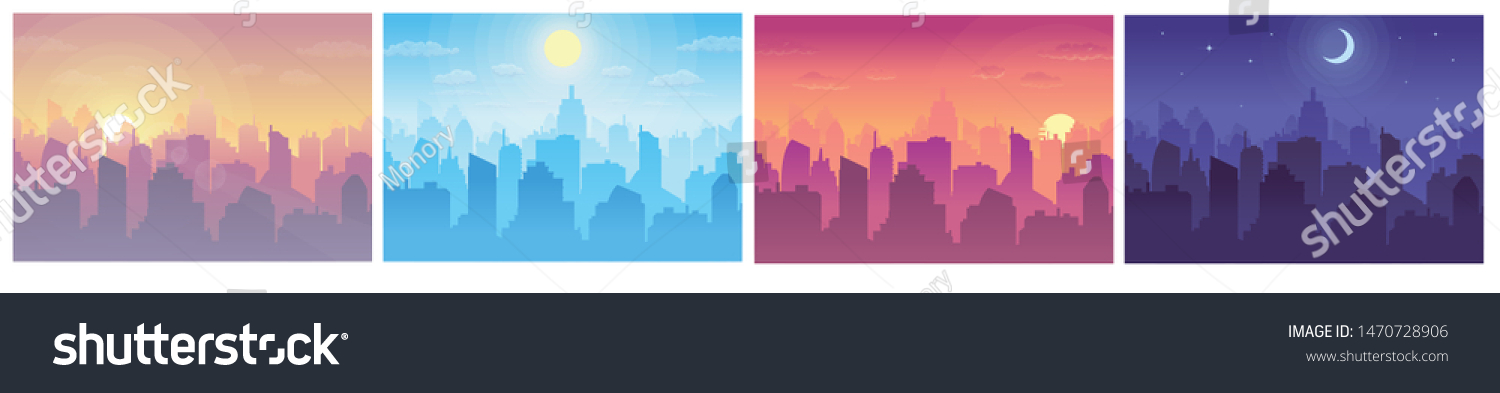 Cityscape at different times. Daytime vector cityscape in flat style. Morning, noon, sunset and night stars at city cityscape. #1470728906