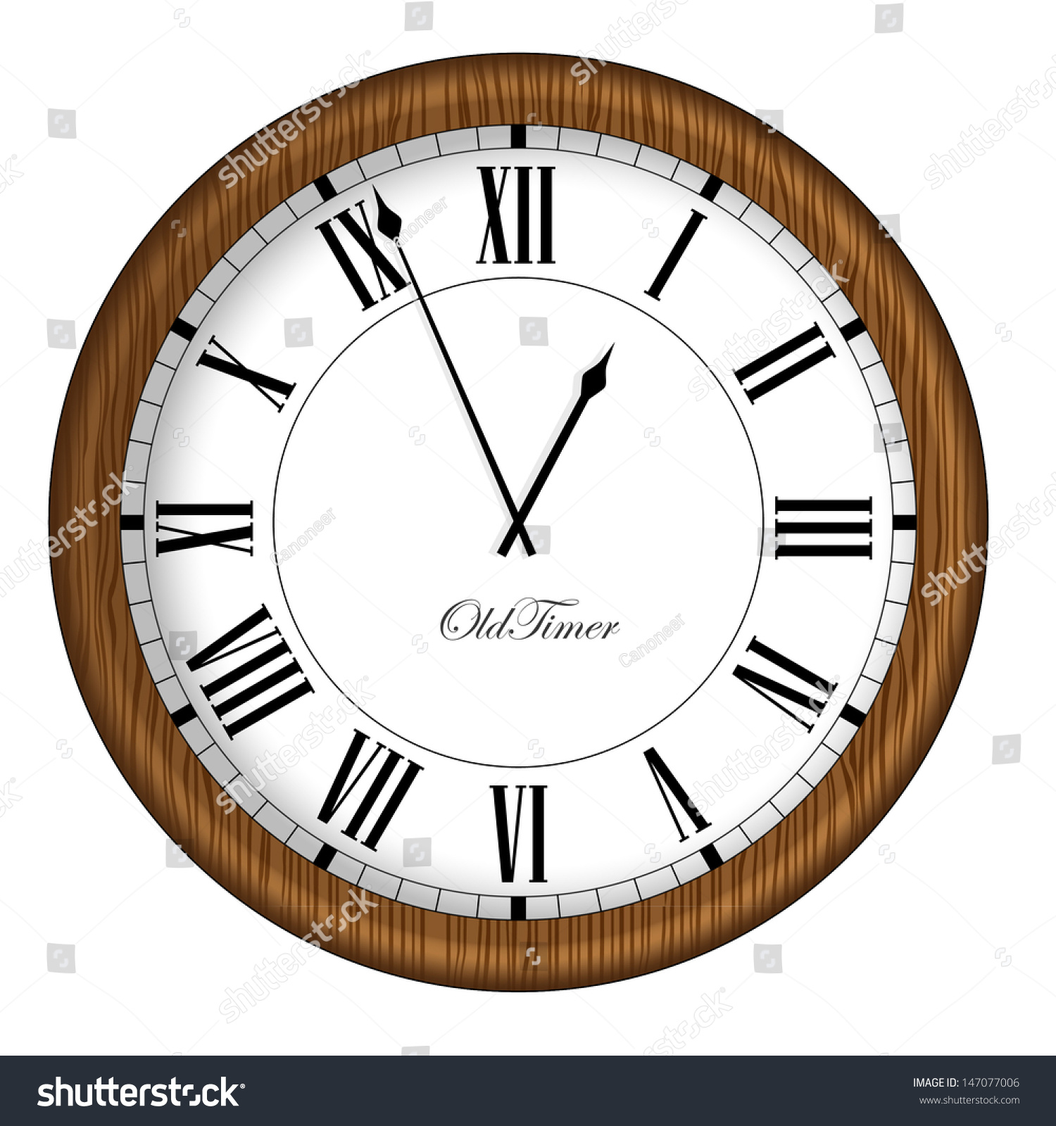 old fashioned clock retro old timer clock in wooden frame vector illustration