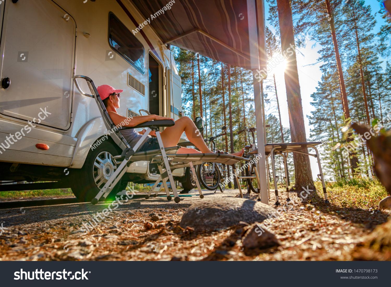 Family vacation travel RV, holiday trip in motorhome, Caravan car Vacation. #1470798173