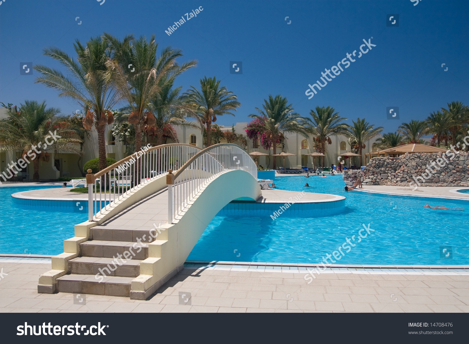 Egyptian Hotel Swimming Pool With Bridge Stock Photo 14708476 Shutterstock