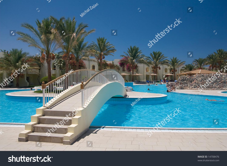 Egyptian Hotel Swimming Pool Bridge Stock Photo (Edit Now ...