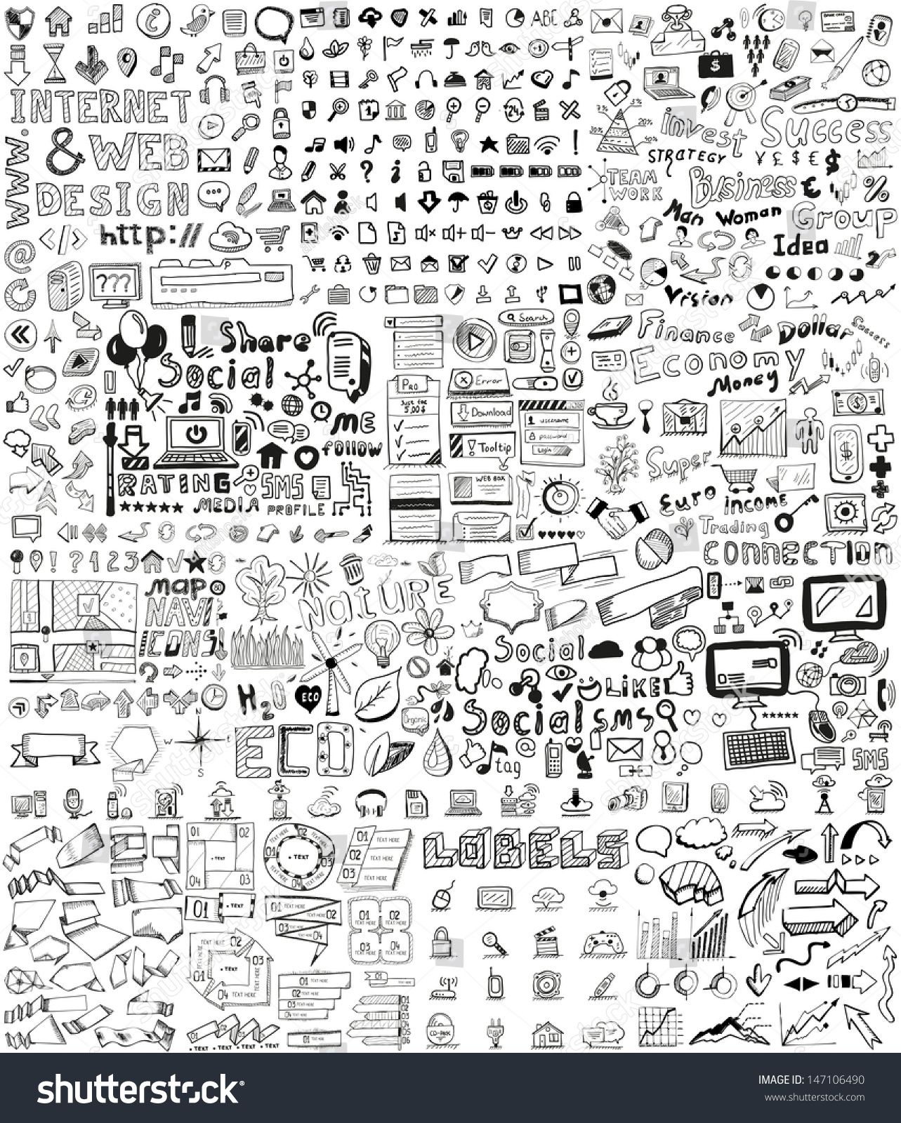 Huge set of business, social, technology hand drawn elements / doodles #147106490