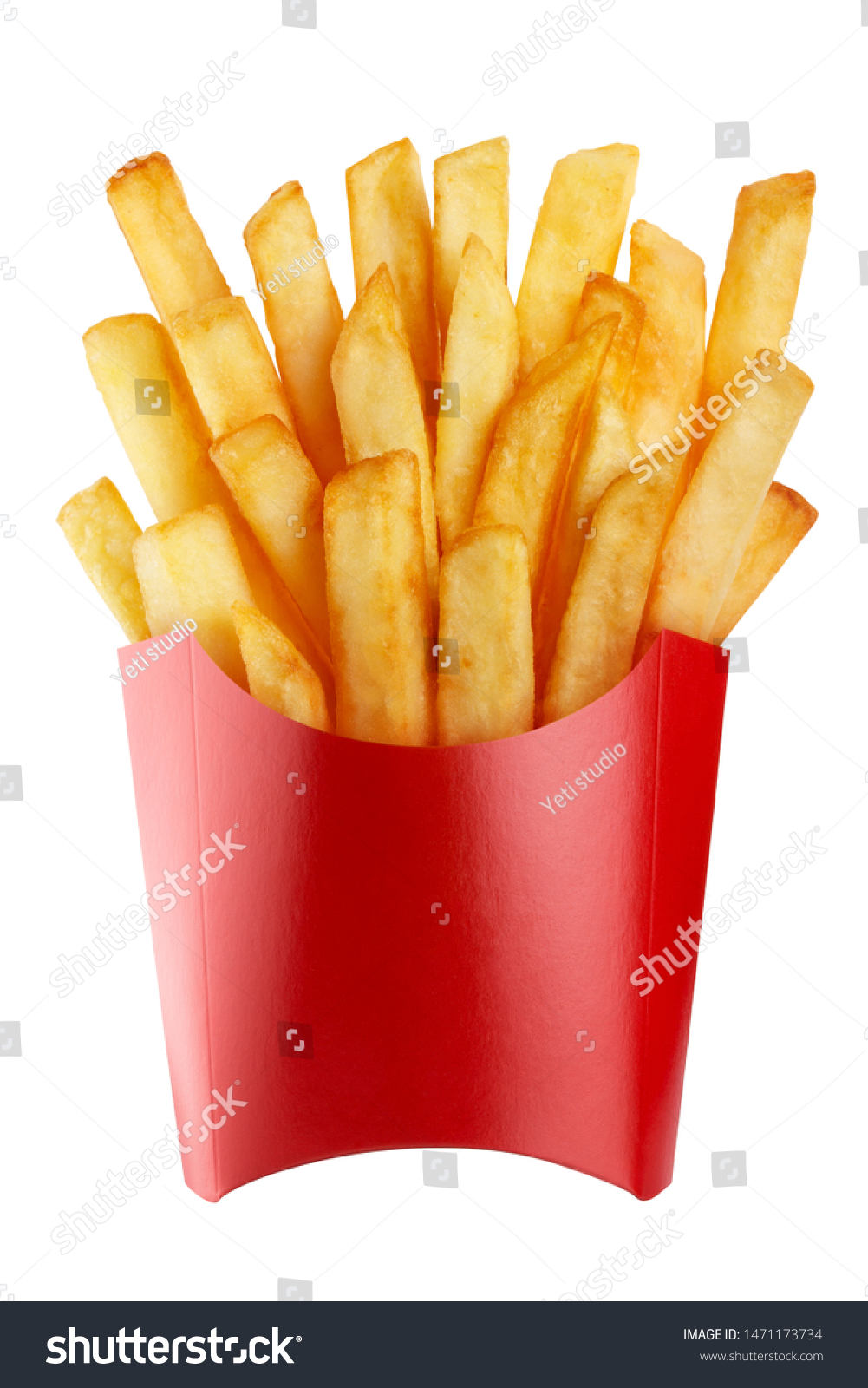 Delicious french potato fries in a red carton package box, isolated on white background #1471173734