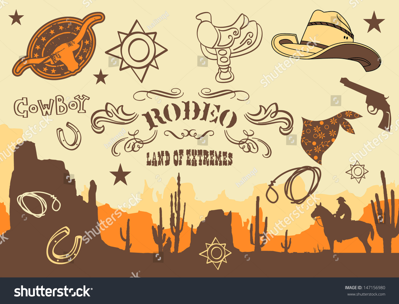 Cowboy Wild West Western Elements Vector Stock-Vektorgrafik ...
