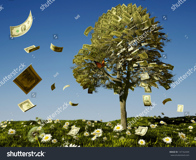 Money Tree On Grass Daisies Stock Illustration 147162449 ...