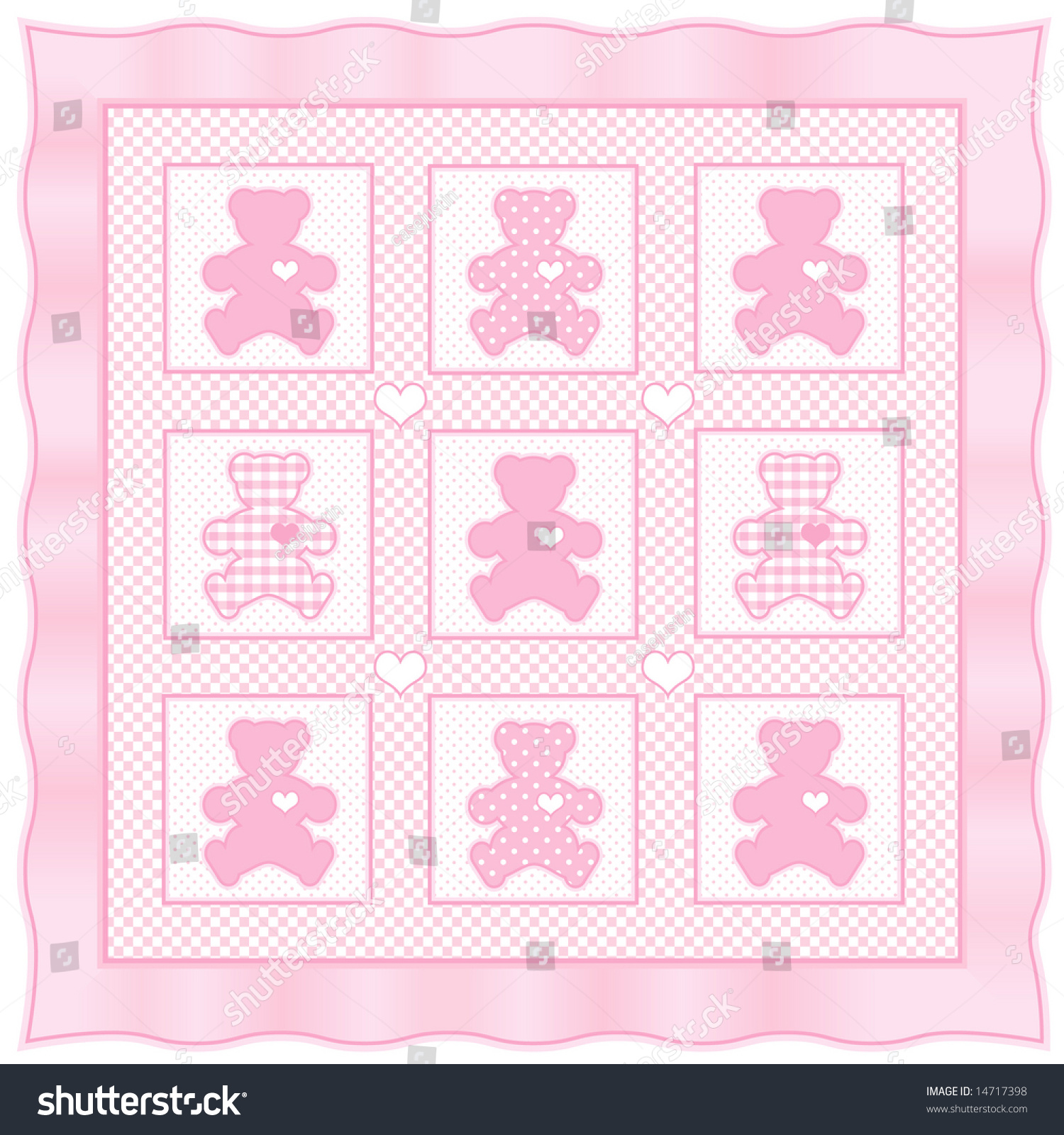 teddy bear quilt old fashioned patchwork stock illustration