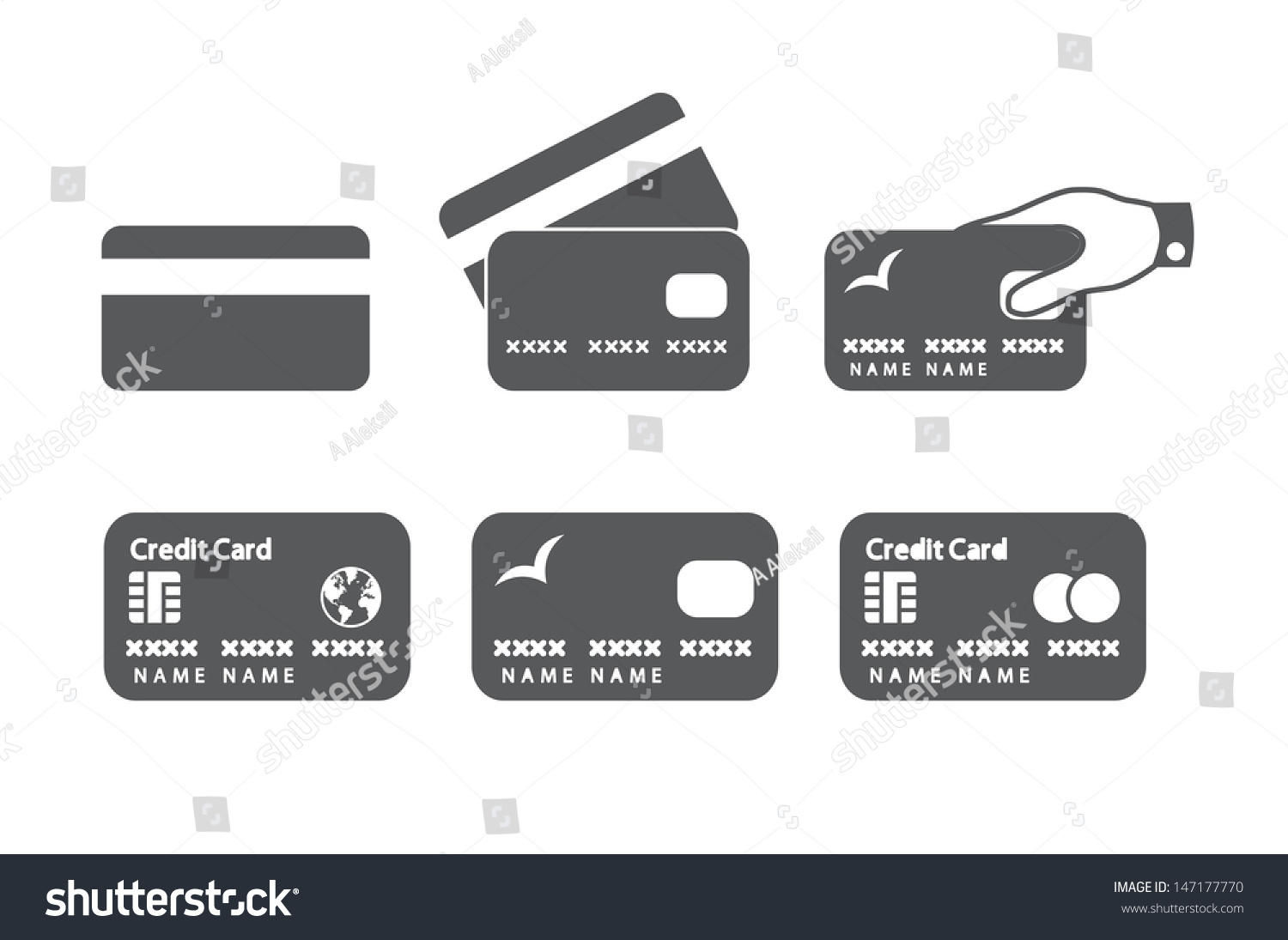 Credit Card Icons Vector Illustration Stock Vector 147177770 ...