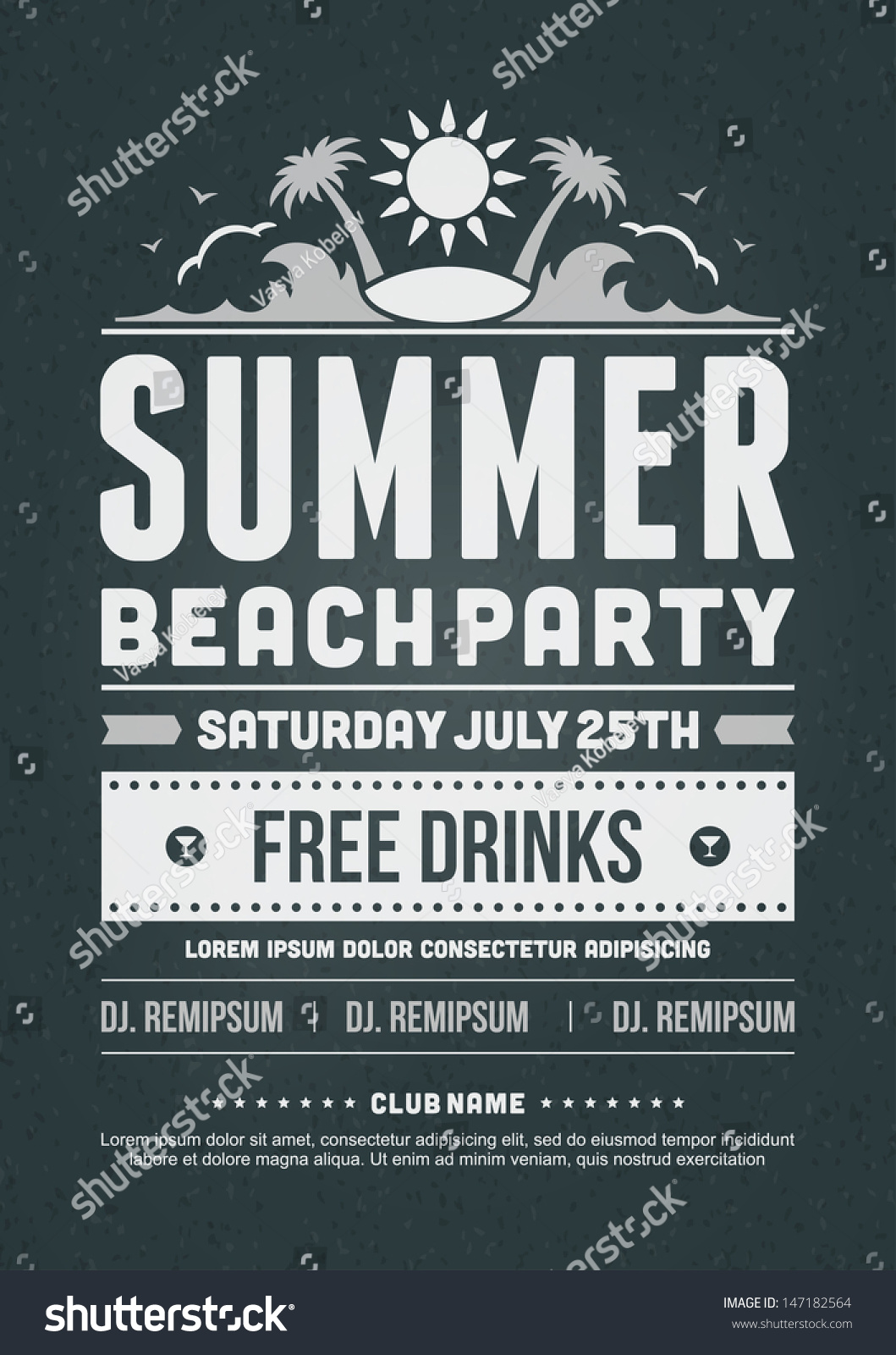 Summer Party Invitation Template for adorable invitations sample