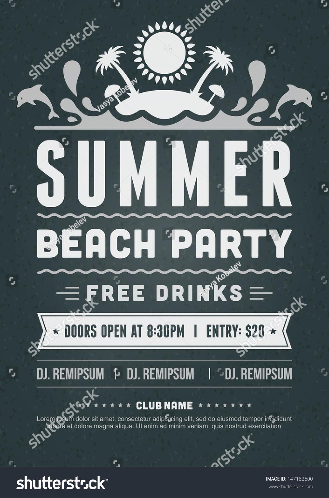 Retro Summer Party Design Poster Flyer Vector 147182600 – Typography Flyer