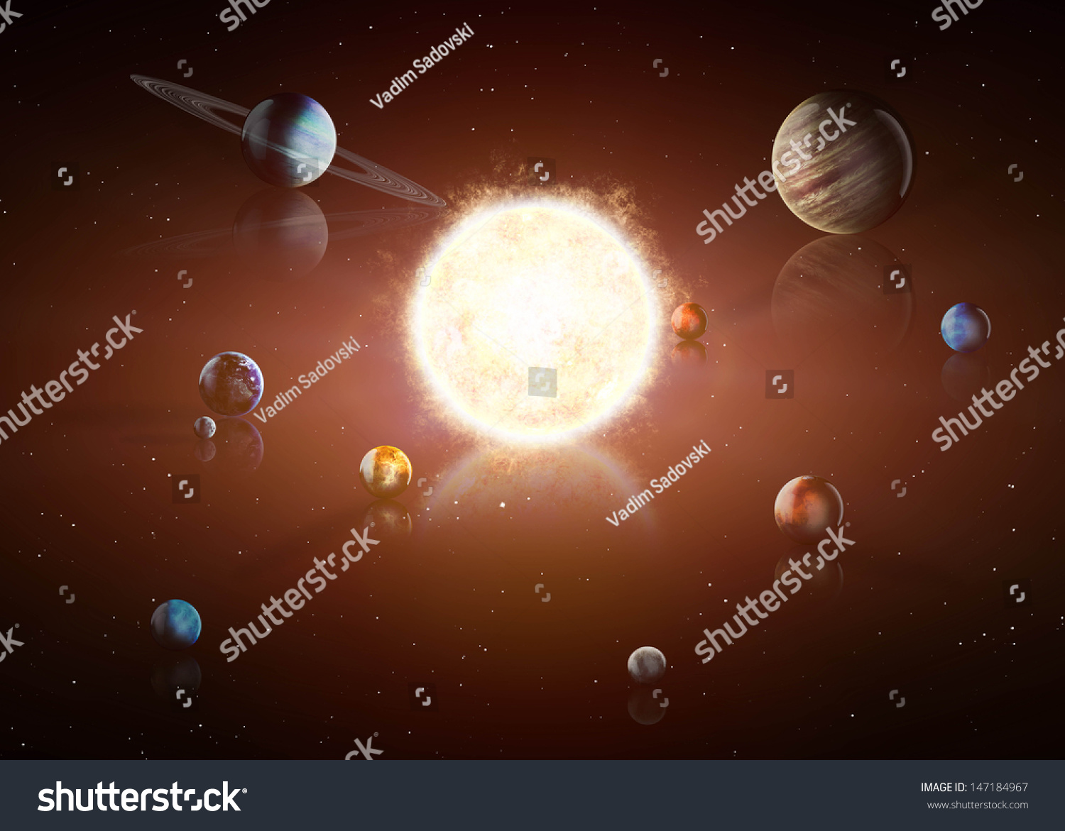 Illustration Of Solar System Showing Planets Around Sun ...