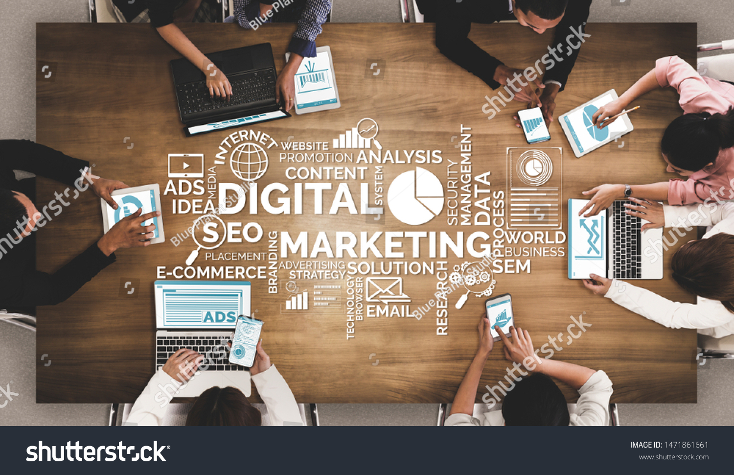 Digital Marketing Technology Solution for Online Business Concept - Graphic interface showing analytic diagram of online market promotion strategy on digital advertising platform via social media. #1471861661