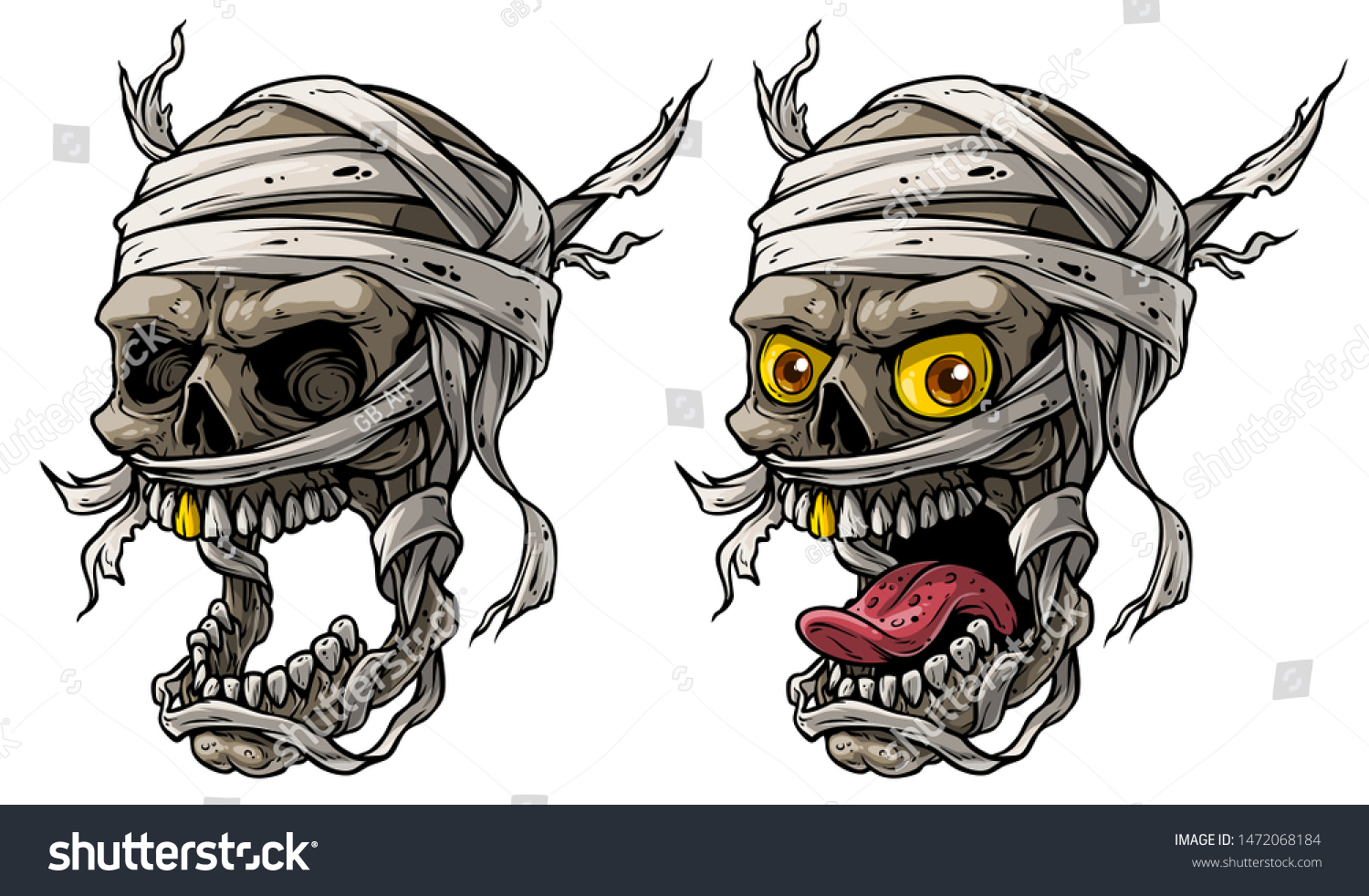 Cartoon Detailed Realistic Colorful Scary Egyptian Stock Vector Royalty Free 1472068184