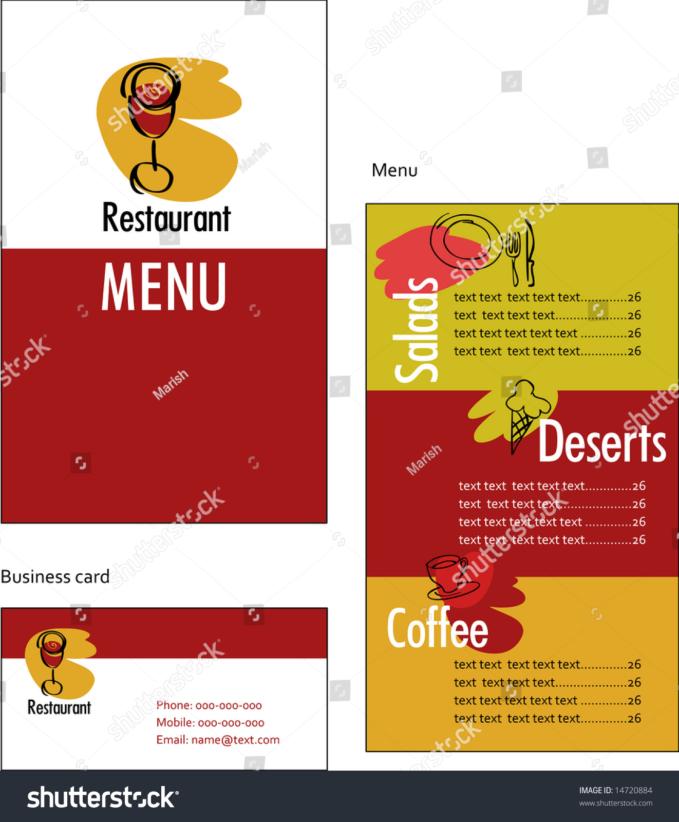 Template designs menu business card restaurant stock for Sandwich shop menu template