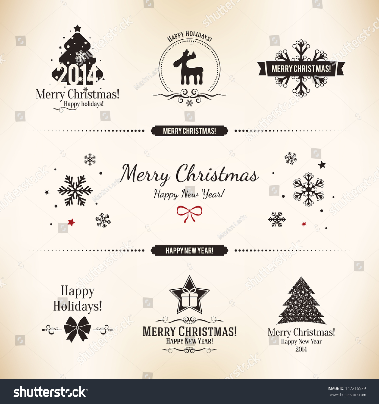 Christmas New Year Symbols Designs Postcard Stock Vector Royalty