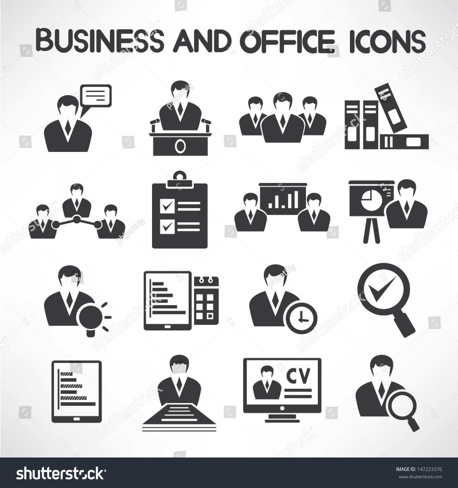 Human Resource Executive And: Business Management Human Resource Icons Set Stock Vector