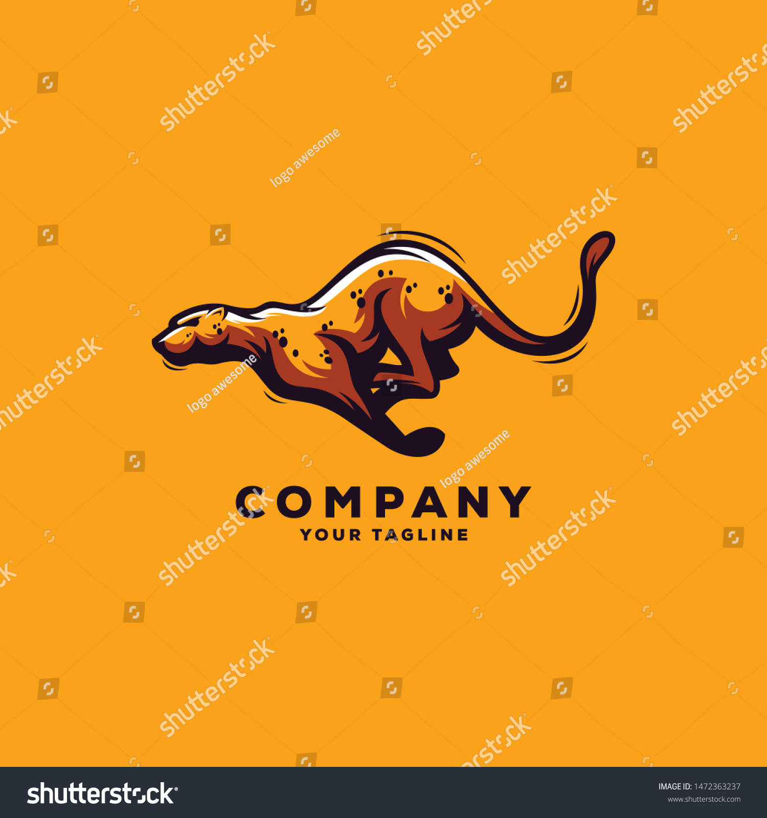 awesome running cheetah logo design stock vector royalty free 1472363237 https www shutterstock com image vector awesome running cheetah logo design 1472363237