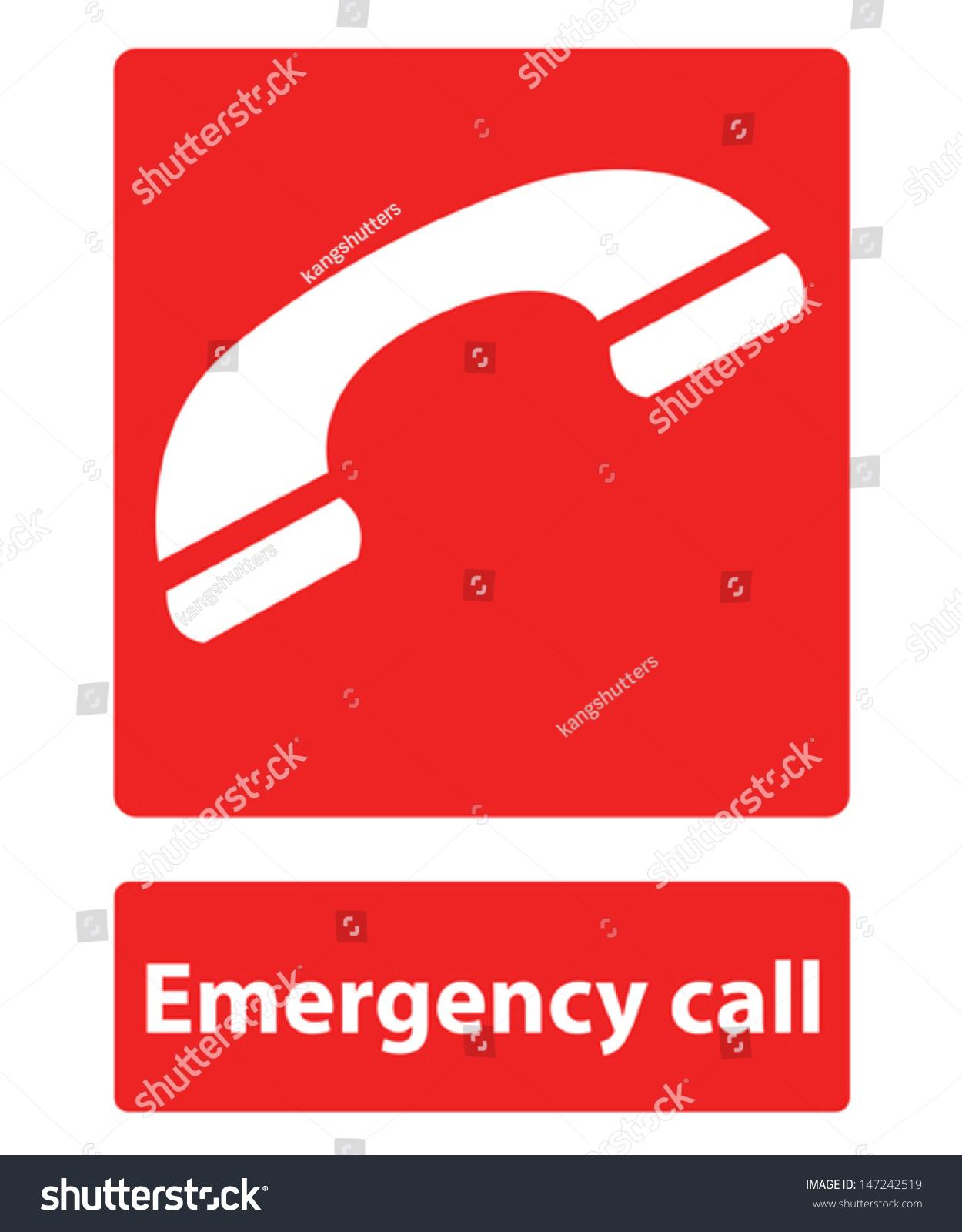 Emergency Call Sign Stock Vector 147242519 - Shutterstock