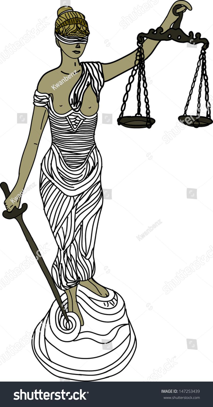 Themis Mythological Greek Goddess Symbol Justice Stock Vector