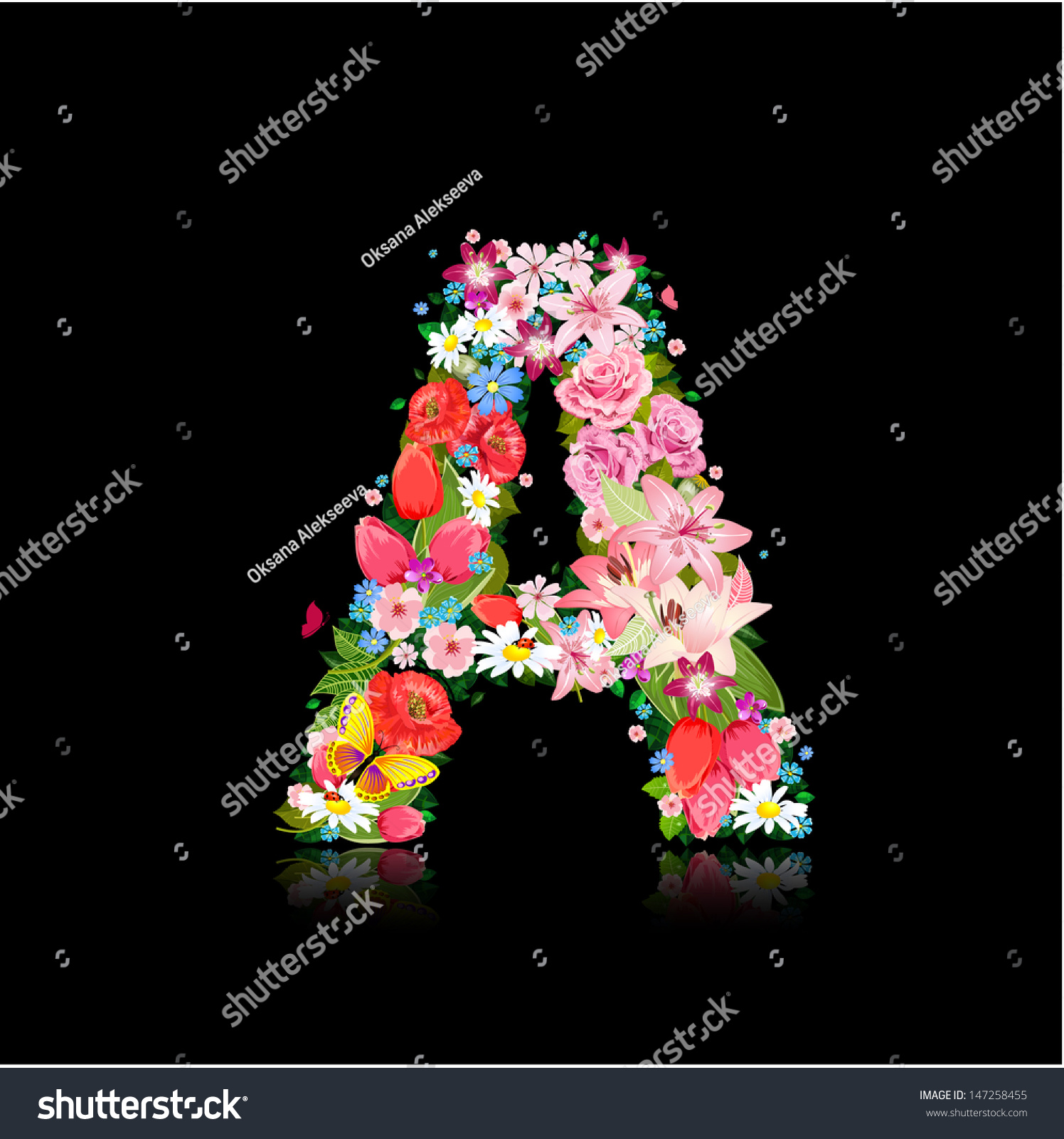 Romantic Letter Beautiful Flowers Stock Vector Royalty Free